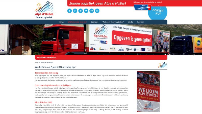 Portfolio resp[onsive website Team logistiek Alpe d'HuZes