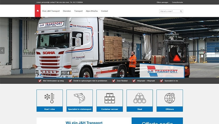 Responsive template website J&H Transport Velserbroek